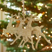 GLITTER DEER SILHOUETTES ORNAMENT