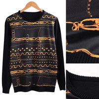 Black Chain Pattern Ribbed Trim Panel Sweater