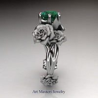 Nature Inspired 14K White Gold 1.0 Ct Emerald Rose Petal Leaf Solitaire Ring R317S-14KWGEM