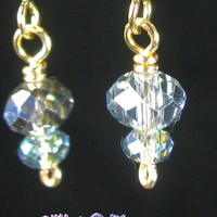 Light Blue Stacked Crystal Earrings, Gold Plated Simple Wire Wrapped