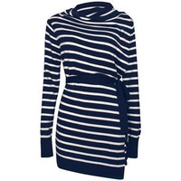 4-Way Maternity & Nursing Cardigan {Navy/Ecru Stripe}