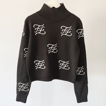 Fendi Fashion new embroidery more letter long sleeve top sweater Black