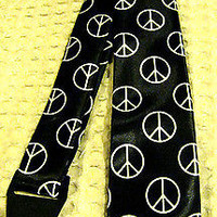 """Unisex Black with White Peace Signs Neck tie 57"""" L x 3"""" W-Peace Sign Neck Tie"""