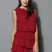 Loving Ruffles Top and Skirt Set in Wine