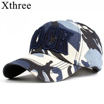 Trendy Winter Jacket Xthree Fashion Men's camouflage Baseball Cap with Pattern Cap Snapback Hat for men Gorras Casual Casquette Embroidery Letter Cap AT_92_12