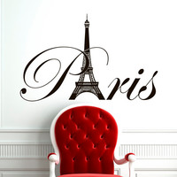Paris Eiffel Tower Wall Decal Vinyl Lettering Wall Decals Vinyl Stickers Paris Skyline Silhouette France Living Room Art Bedroom Decor C077