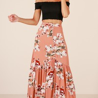 Who You Know skirt in peach floral Produced By SHOWPO
