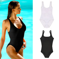 Summer Sexy Women One Piece Bikini Monokini Swimsuit Padded Backless Swimwear free shipping