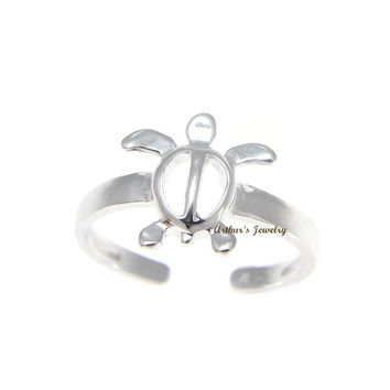 SOLID 925 STERLING SILVER HAWAIIAN HONU TURTLE TOE RING