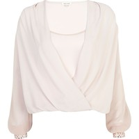 Pink embellished cropped wrap blouse - blouses / shirts - sale - women