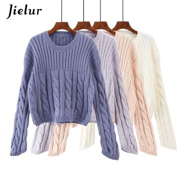 Jielur 4 Solid Color Harajuku Sweters Women Invierno 2018 New Long Sleeve Pull Femme White Loose White Hipster Kpop Crop Sweater