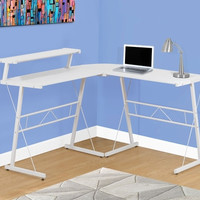 COMPUTER DESK - WHITE TOP / WHITE METAL