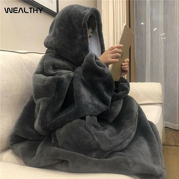 Women Winter Hoodies Blanket with Sleeve Warm Fleece Hooded Pocket Blankets Soft Hoodie Slant Robe Bathrobe Sweatshirt Pullover