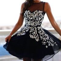 Mesh sequined stitching dress HT625DH