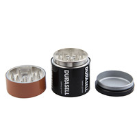 Metal Stainless Steel Battery Shape Pattern Herbal Herb Tobacco Grinder Smoke Cigar Magnetic Spice Pollen Crusher