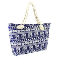 Blue Elephant Canvas Tote Bag with Rope Handles.