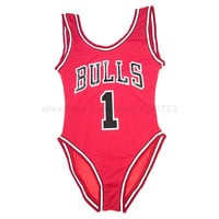 2015 New Summer Style One Piece Swimsuit Beyonce Swimwear Letter Print BULLS Jersey Rose Women Bathing Suit Monokini Bodysuit