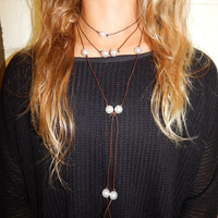 Long Leather Pearl Layer Necklace