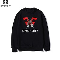 Givenchy 2019 new butterfly creative embroidery fashion round neck pullover long sleeve sweater black