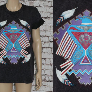 90s Graphic Tshirt Stone Wash Eagle Indian Feather Native American Southwestern Tribal Animal Purple Black T Shirt Tee Tie Dye L Hipster