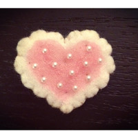 Felt Heart Cookie Biscuit Hair Clip Icing with Little Pearls