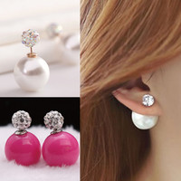 Fashion jewelry double pearl earings candy color earrings for women trendy stud earrings