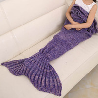 The new children flounced mermaid with girls knitting blankets blanket blanket air conditioning blanket creative couch
