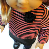 "Black and pink striped knit tunic with flower detail, jeggings and black boots for American Girl and other 18"" Dolls"