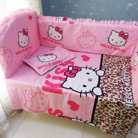 Promotion! 6PCS Hello Kitty Baby Crib bumpers for cot Cotton Fabrics Crib Baby Bedding Sets,include:(bumper+sheet+pillow cover)