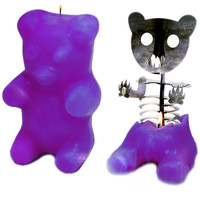 """Gummi Bear"" Skeleton Candle (Purple)"