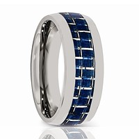 COBRA Domed Tungsten Men's Wedding Band With Blue Carbon Fiber Inlay Brushed
