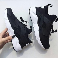 """simpleclothesv : """"NIKE""""AIR Huarache Running Sport Casual Shoes Sneakers Black(white soles)"""