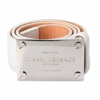 Gianni Versace Couture 100% Leather White Fashion Belt Sz