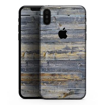 Vintage Wooden Planks with Yellow Paint - iPhone XS MAX, XS/X, 8/8+, 7/7+, 5/5S/SE Skin-Kit (All iPhones Available)