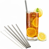 4 Stainless Steel Drinking Straws+Cleaner Brush Reusable Unfolded Metal Kitchen Hot