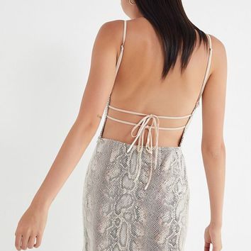 UO Textured Snake Print Mini Dress | Urban Outfitters