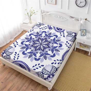 Purple Flowers Fitted Sheet Mandala Print Bed Sheets King Queen Elastic Band Mattress Cover Soft Bedclothes D45