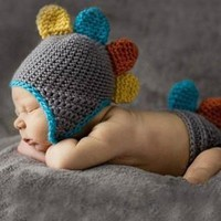 Multi-Colored Dinosaur Knit Hat Outfit Last Call - CCA62