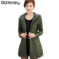 2016 New autunm and winter women trench coat slim fashion plus size 4XL medium-long windbreaker patchwork hooded outwear BN628