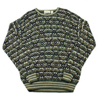 Vintage 90s Nordic Style Green/Tan/White Acrylic Sweater Mens Size Large