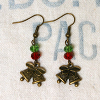 Bronze Christmas Bell Earrings with Red and Green Accent Beads, Holiday Earrings, Bell Dangles