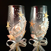 """hand decorated champagne wedding glasses """" Sandy"""""""