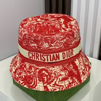 Dior new printed letter webbing canvas fisherman hat