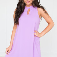 Keyhole Tie Back Chiffon Dress - Lavender