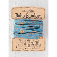 Boho Bandeau Blue Flower Medallian