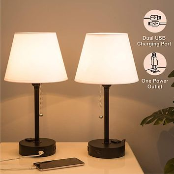 Lifeholder Bedside Lamps, Table Lamp with Useful Dual USB Ports & A Power Outlet, Minimalist White Shade USB Nightstand Lamp, Desk Lamp Perfect for Bedroom, Living Room or Office (2 Packs) 8.66*8.66*17.32 Inches Inches White Lamps