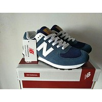 """""""New Balance"""" Stylish Unisex All-Match N Words Breathable Couple Sneakers Shoes Blue I"""