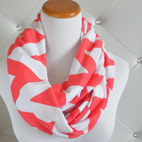Coral Chevron Infinity Scarf, soft Jersey knit-Ready to ship