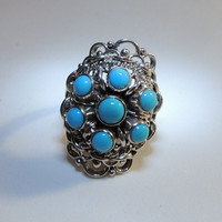 Sterling Silver Turquoise Oblong Open Work Ring