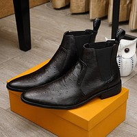 lv men fashion boots fashionable casual leather breathable sneakers running shoes 104